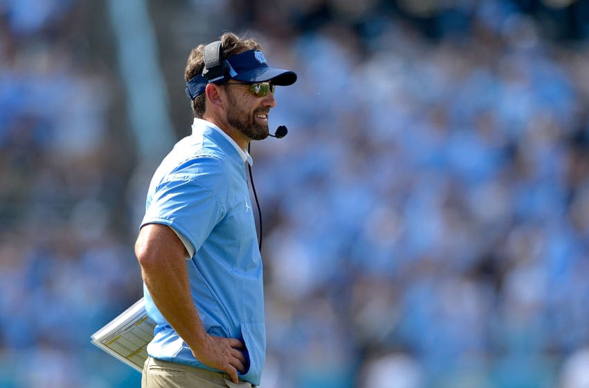 CHAPEL HILL, NC - SEPTEMBER 02: Head coach Larry Fedora of the North Carolina Tar Heels watches during their game against the California Golden Bears at Kenan Stadium on September 2, 2017 in Chapel Hill, North Carolina. Cal won 35-30. (Photo by Grant Halverson/Getty Images)