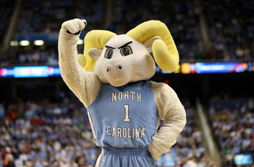 GREENSBORO, NC - MARCH 17: Ramses, the mascot for the North Carolina Tar Heels performs against the Miami (Fl) Hurricanes during the final of the Men's ACC Basketball Tournament at Greensboro Coliseum on March 17, 2013 in Greensboro, North Carolina. (Photo by Streeter Lecka/Getty Images)