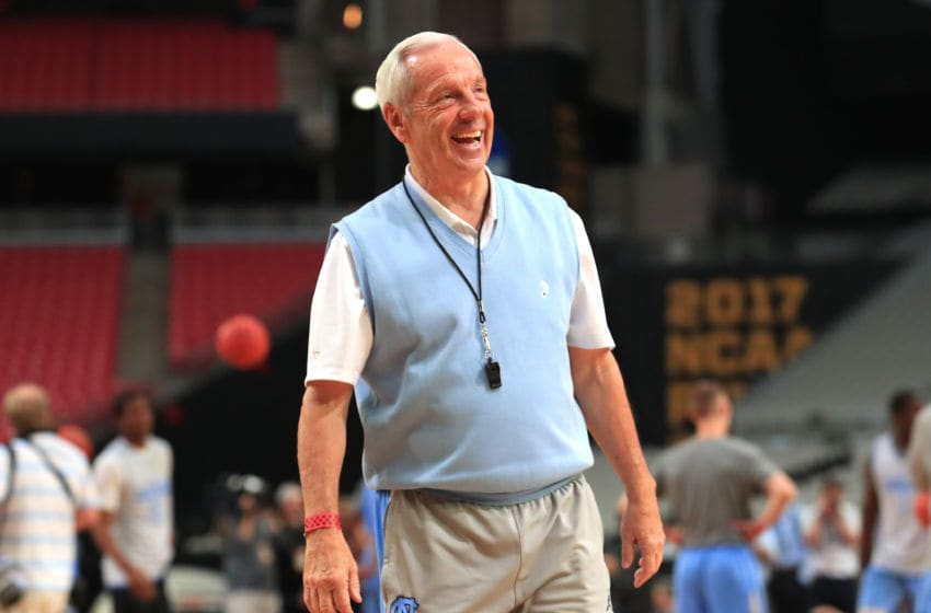GLENDALE, AZ - MARCH 31: Head coach Roy Williams of the North Carolina Tar Heels looks on during practice ahead of the 2017 NCAA Men's Basketball Final Four at University of Phoenix Stadium on March 31, 2017 in Glendale, Arizona. (Photo by Tom Pennington/Getty Images)