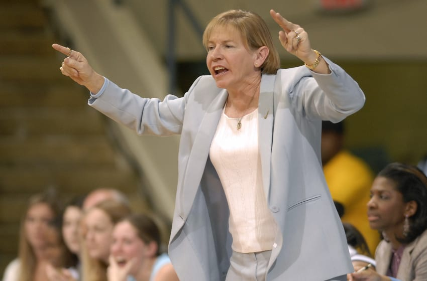 CHAPEL HILL, NC - FEBRUARY 08: Coach Sylvia Hatchell of the North Carolina Tar Heels calls instructions against the Duke University Blue Devils during their game February 8, 2007 at Carmichael Auditorium in Chapel Hill, North Carolina. (Photo by Grant Halverson/Getty Images)