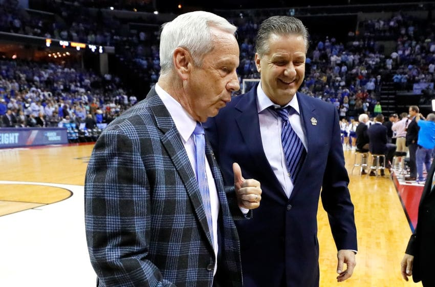 MEMPHIS, TN - MARCH 26: Head coach Roy Williams of the North Carolina Tar Heels and head coach John Calipari of the Kentucky Wildcats walk off the court before their game during the 2017 NCAA Men's Basketball Tournament South Regional at FedExForum on March 26, 2017 in Memphis, Tennessee. (Photo by Kevin C. Cox/Getty Images)