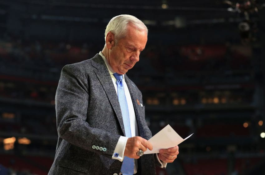 GLENDALE, AZ - APRIL 01: Head coach Roy Williams of the North Carolina Tar Heels looks on after defeating the Oregon Ducks during the 2017 NCAA Men's Final Four Semifinal at University of Phoenix Stadium on April 1, 2017 in Glendale, Arizona. North Carolina defeated Oregon 77-76. (Photo by Tom Pennington/Getty Images)