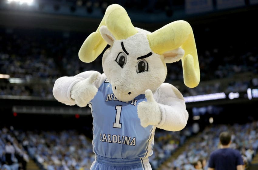 CHAPEL HILL, NC - NOVEMBER 29: The mascot of the North Carolina Tar Heels in action against the Michigan Wolverines during their game at Dean Smith Center on November 29, 2017 in Chapel Hill, North Carolina. (Photo by Streeter Lecka/Getty Images)