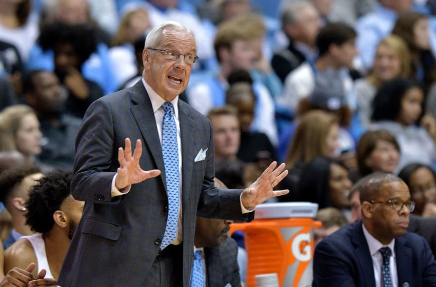 CHAPEL HILL, NC - DECEMBER 06: Head coach Roy Williams of the North Carolina Tar Heels directs his team during their game against the Western Carolina Catamounts at the Dean Smith Center on December 6, 2017 in Chapel Hill, North Carolina. North Carolina won 104-61. (Photo by Grant Halverson/Getty Images)