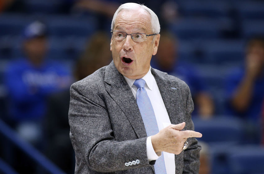 NEW ORLEANS, LA - DECEMBER 23: Head coach Roy Williams of the North Carolina Tar Heels reacts during the first half of the CBS Sports Classic against the Ohio State Buckeyes at the Smoothie King Center on December 23, 2017 in New Orleans, Louisiana. (Photo by Jonathan Bachman/Getty Images)