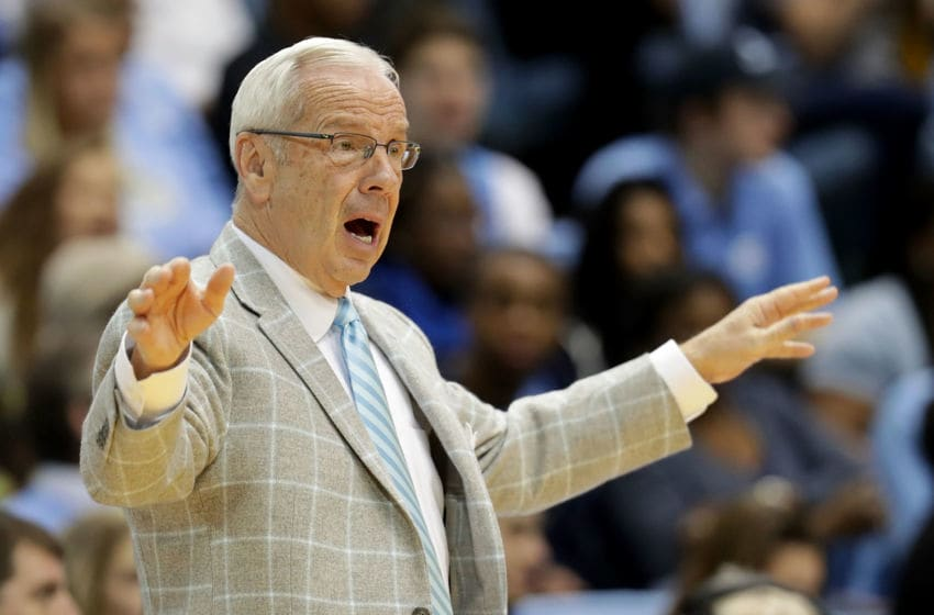 CHAPEL HILL, NC - JANUARY 20: Head coach Roy Williams of the North Carolina Tar Heels reacts during their game against the Georgia Tech Yellow Jackets at Dean Smith Center on January 20, 2018 in Chapel Hill, North Carolina. (Photo by Streeter Lecka/Getty Images)
