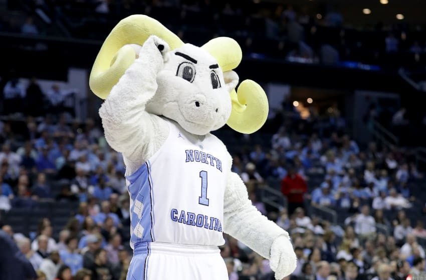 CHARLOTTE, NC - MARCH 16: The North Carolina Tar Heels Ram reacts to their 84-66 victory over the Lipscomb Bisons during the first round of the 2018 NCAA Men's Basketball Tournament at Spectrum Center on March 16, 2018 in Charlotte, North Carolina. (Photo by Streeter Lecka/Getty Images)