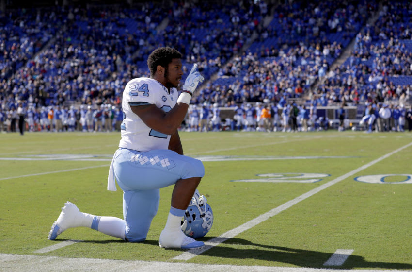 DURHAM, NC - NOVEMBER 10: Antonio Williams #24 of the North Carolina Tar Heels watches on before their game against Duke Blue Devils at Wallace Wade Stadium on November 10, 2018 in Durham, North Carolina. (Photo by Streeter Lecka/Getty Images)