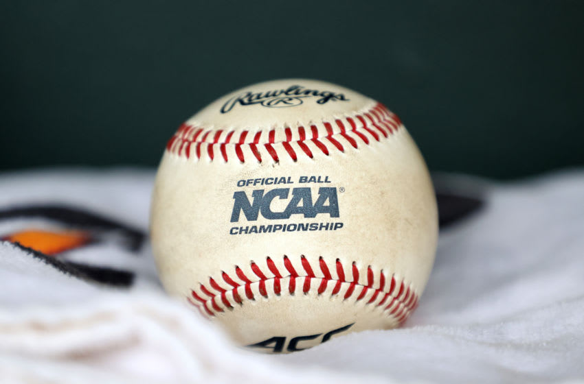 CHAPEL HILL, NC - FEBRUARY 19: An Atlantic Coast Conference (ACC) and NCAA game baseball during a game between High Point and North Carolina at Boshamer Stadium on February 19, 2020 in Chapel Hill, North Carolina. (Photo by Andy Mead/ISI Photos/Getty Images)