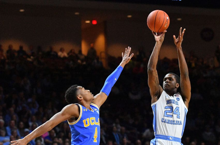 LAS VEGAS, NEVADA - NOVEMBER 23: Kenny Williams #24 of the North Carolina Tar Heels shoots against Jaylen Hands #4 of the UCLA Bruins during the 2018 Continental Tire Las Vegas Invitational basketball tournament at the Orleans Arena on November 23, 2018 in Las Vegas, Nevada. (Photo by Sam Wasson/Getty Images)