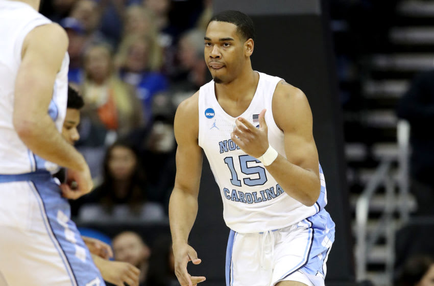 KANSAS CITY, MISSOURI - MARCH 29: Garrison Brooks #15 of the North Carolina Tar Heels reacts against the Auburn Tigers during the 2019 NCAA Basketball Tournament Midwest Regional at Sprint Center on March 29, 2019 in Kansas City, Missouri. (Photo by Christian Petersen/Getty Images)