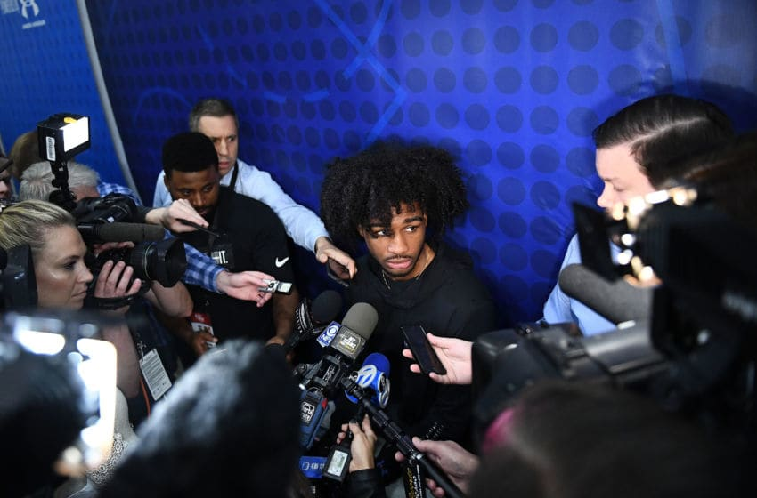 CHICAGO, ILLINOIS - MAY 16: Coby White speaks with the media during Day One of the NBA Draft Combine at Quest MultiSport Complex on May 16, 2019 in Chicago, Illinois. NOTE TO USER: User expressly acknowledges and agrees that, by downloading and or using this photograph, User is consenting to the terms and conditions of the Getty Images License Agreement. (Photo by Stacy Revere/Getty Images)