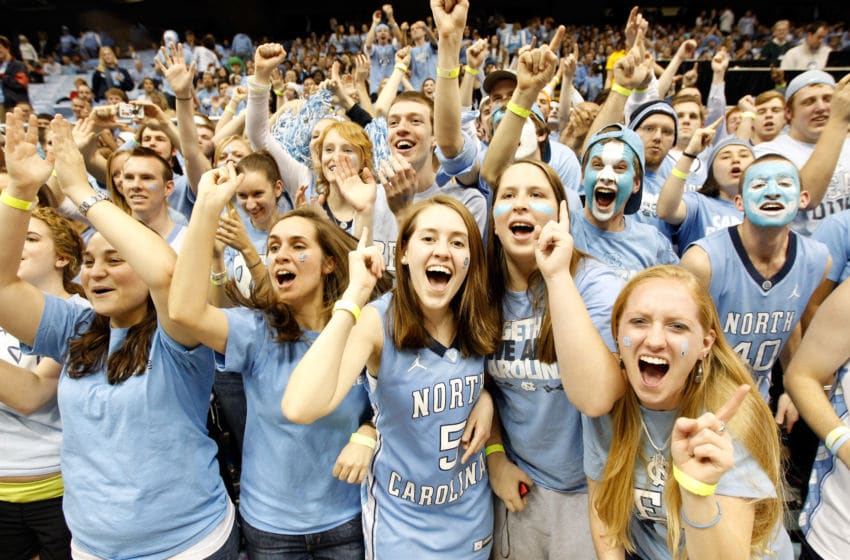 CHAPEL HILL, NC - FEBRUARY 08: Fans of the North Carolina Tar Heels prepare for their game against the Duke Blue Devils at the Dean Smith Center on February 8, 2012 in Chapel Hill, North Carolina. (Photo by Streeter Lecka/Getty Images)
