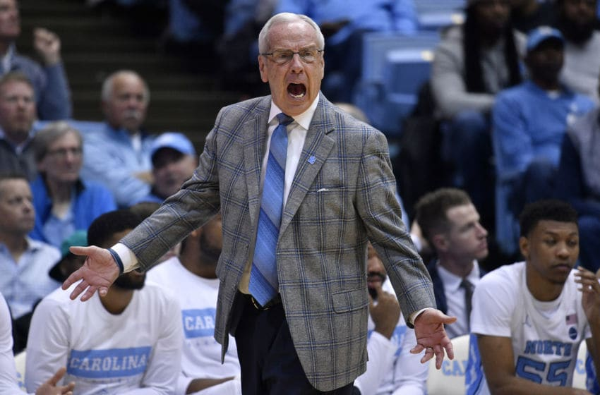 CHAPEL HILL, NORTH CAROLINA - FEBRUARY 01: Head coach Roy Williams of the North Carolina Tar Heels reacts during the second half of their game against the Boston College Eagles at the Dean Smith Center on February 01, 2020 in Chapel Hill, North Carolina. Boston College won 71-70. (Photo by Grant Halverson/Getty Images)