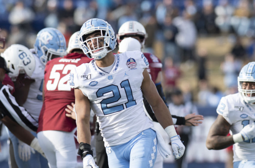 Dec 27, 2019; Annapolis, Maryland, USA; North Carolina Tar Heels linebacker Chazz Surratt (21) reacts after a play during the third quarter against the Temple Owls at Navy-Marine Corps Memorial Stadium. Mandatory Credit: Tommy Gilligan-USA TODAY Sports