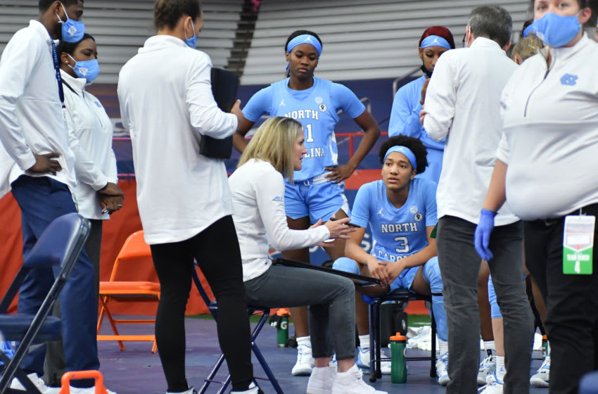 Jan 19, 2021; Syracuse, New York, USA; North Carolina Tar Heels head coach Courtney Banghart gives instruction to her team in the fourth quarter against the Syracuse Orange at Carrier Dome. Mandatory Credit: Mark Konezny-USA TODAY Sports