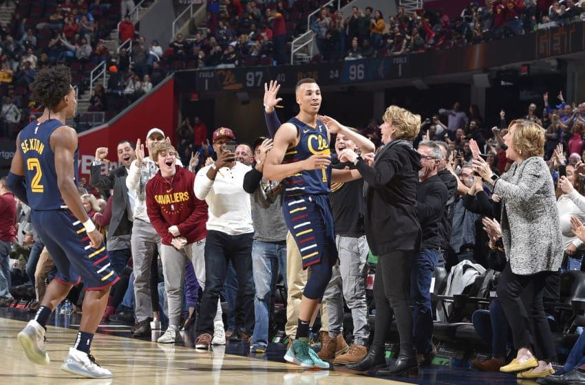 Cleveland Cavaliers guard Dante Exum reacts after a play versus the Minnesota Timberwolves. (Photo by David Liam Kyle/NBAE via Getty Images)