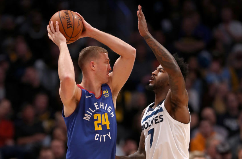 Jordan Bell of the Minnesota Timberwolves (#7) defends on-ball. (Photo by Matthew Stockman/Getty Images)