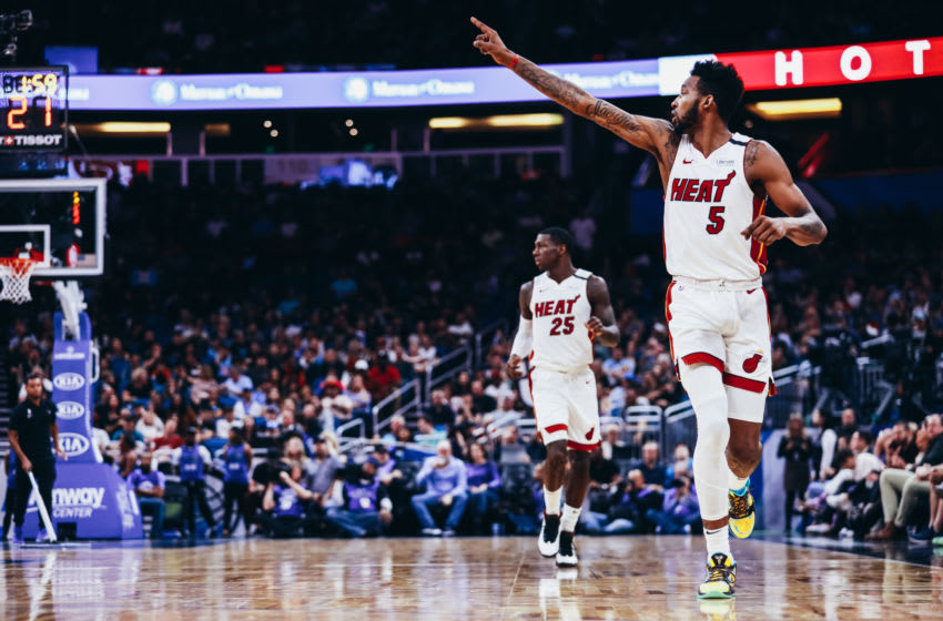 Miami Heat wing Derrick Jones Jr. communicates with teammates. (Photo by Harry Aaron/Getty Images)