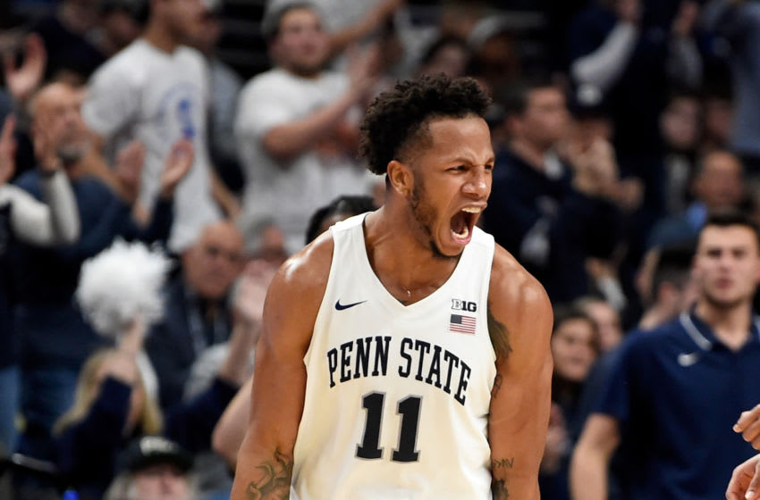 Penn State Nittany Lions forward Lamar Stevens reacts in-game. (Photo by G Fiume/Maryland Terrapins/Getty Images)
