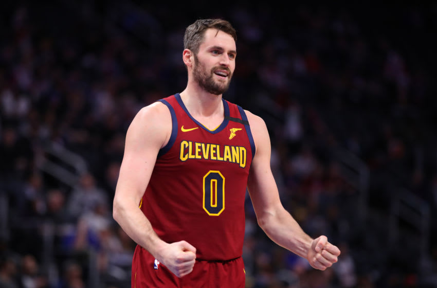 Cleveland Cavaliers big man Kevin Love reacts in-game. (Photo by Gregory Shamus/Getty Images)