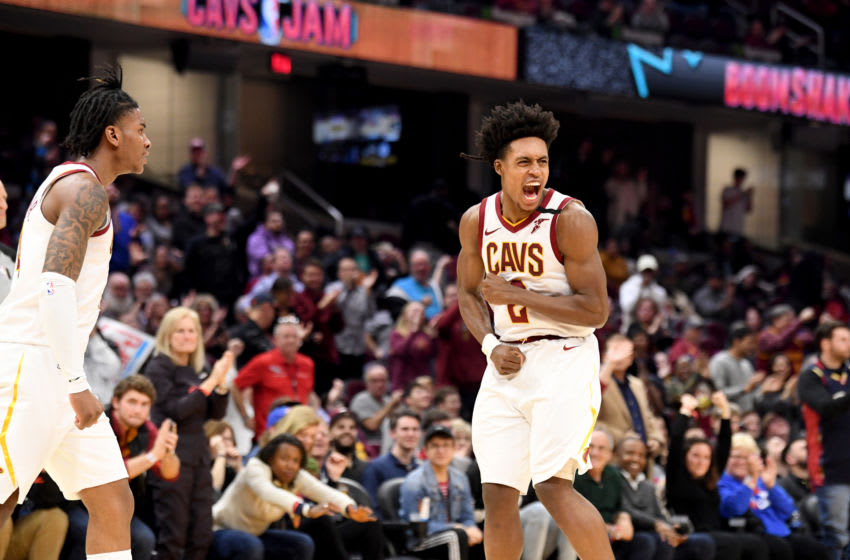 Cleveland Cavaliers guard Collin Sexton celebrates after a made basket by Cleveland wing Kevin Porter Jr. (Photo by Jason Miller/Getty Images)