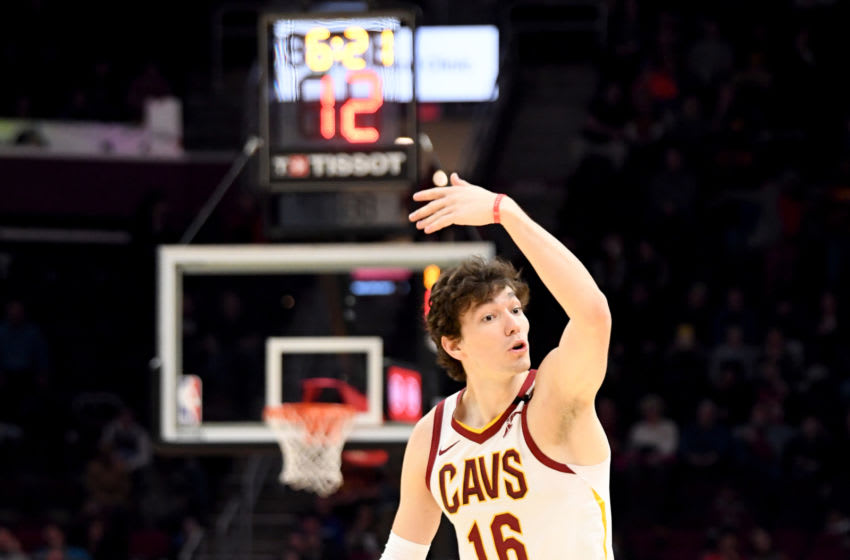 Cleveland Cavaliers wing Cedi Osman directs traffic. (Photo by Jason Miller/Getty Images)