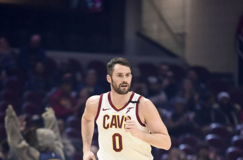Cleveland Cavaliers big man Kevin Love runs back on defense. (Photo by Jason Miller/Getty Images)