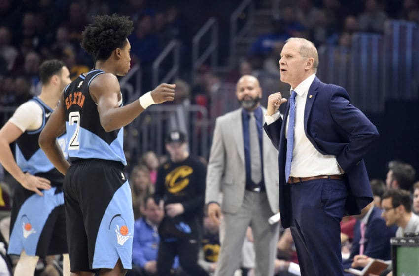 Cleveland Cavaliers guard Collin Sexton talks with Cleveland head coach John Beilein in-game. (Photo by Jason Miller/Getty Images)