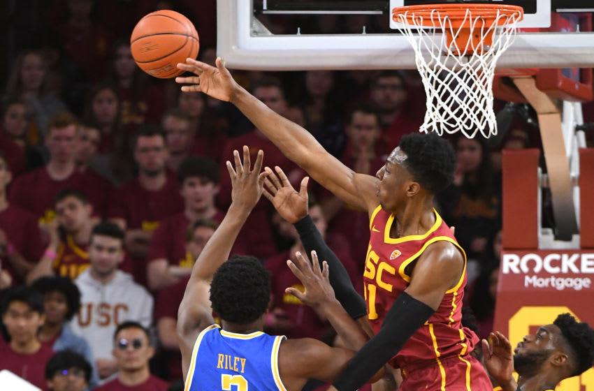 USC Trojans big man Onyeka Okongwu (#21) blocks a shot. (Photo by Jayne Kamin-Oncea/Getty Images)