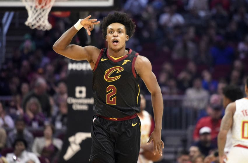 Cleveland Cavaliers guard Collin Sexton reacts after scoring against the Atlanta Hawks. (Photo by Jason Miller/Getty Images)