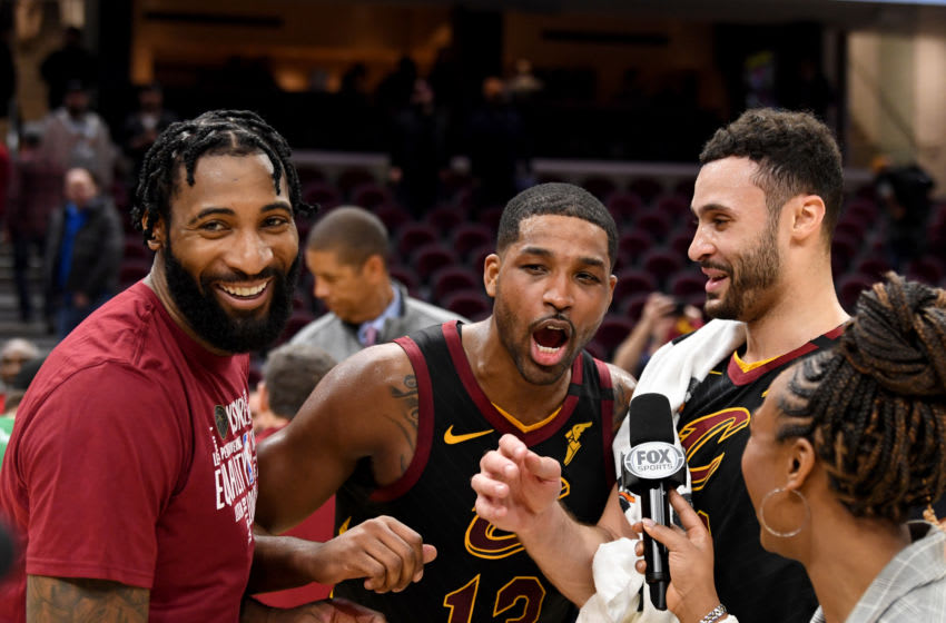 Cleveland Cavaliers big men Andre Drummond (left), Tristan Thompson (center) and Larry Nance Jr. celebrate a victory over the Atlanta Hawks during a post-game interview. (Photo by Jason Miller/Getty Images)
