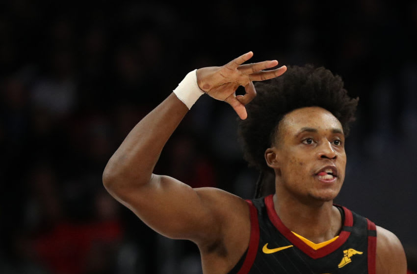 Cleveland Cavaliers guard Collin Sexton celebrates a made three-pointer. (Photo by Patrick Smith/Getty Images)