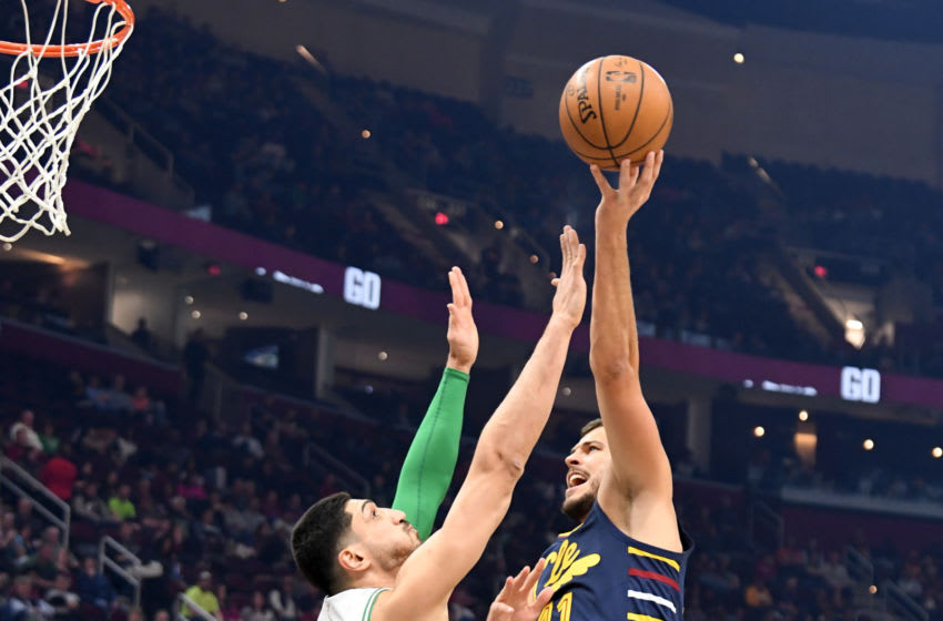 Cleveland Cavaliers big Ante Zizic shoots. (Photo by Jason Miller/Getty Images)