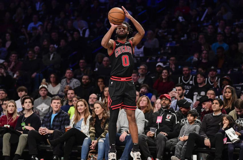 Chicago Bulls guard Coby White shoots the ball. (Photo by Steven Ryan/Getty Images)