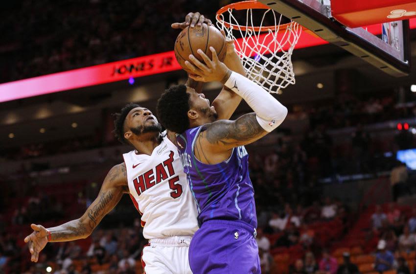 Miami Heat wing Derrick Jones Jr. blocks a shot. (Photo by Michael Reaves/Getty Images)