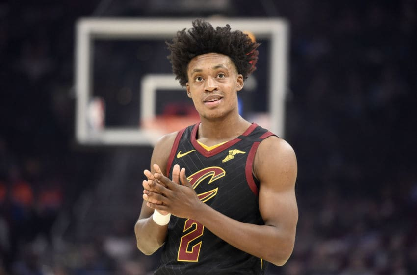 Cleveland Cavaliers guard Collin Sexton reacts in-game. (Photo by Jason Miller/Getty Images)