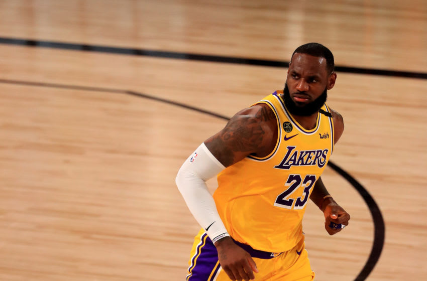 Los Angeles Lakers superstar LeBron James runs down the floor. (Photo by Mike Ehrmann/Getty Images)