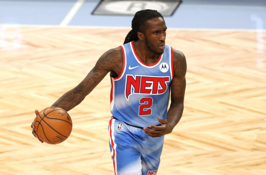 Forward Taurean Prince, pictured here with the Brooklyn Nets, handles the ball. (Photo by Sarah Stier/Getty Images)