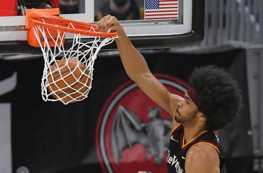 Cleveland Cavaliers big Jarrett Allen dunks the ball. (Photo by Jason Miller/Getty Images)