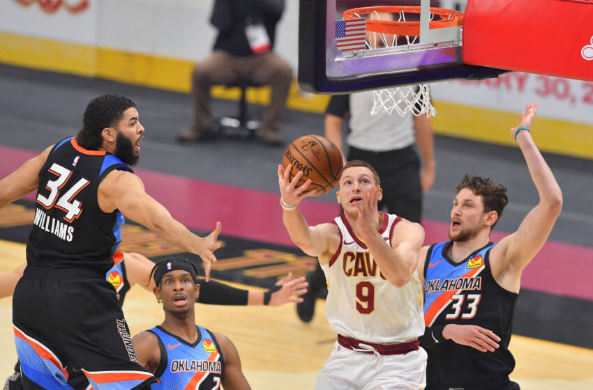 Cleveland Cavaliers wing Dylan Windler looks to shoot on the interior. (Photo by Jason Miller/Getty Images)