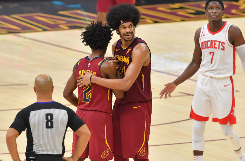 Cleveland Cavaliers guard Collin Sexton (left) and Cleveland big Jarrett Allen celebrate a near-win. (Photo by Jason Miller/Getty Images)