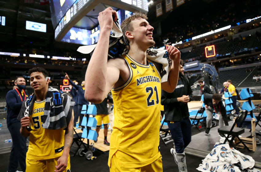 Michigan Wolverines wing Franz Wagner celebrates after a Sweet Sixteen win. (Photo by Jamie Squire/Getty Images)