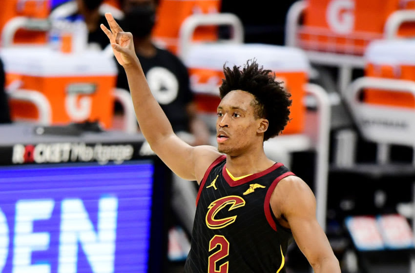 Cleveland Cavaliers guard Collin Sexton reacts in-game. (Photo by Emilee Chinn/Getty Images)