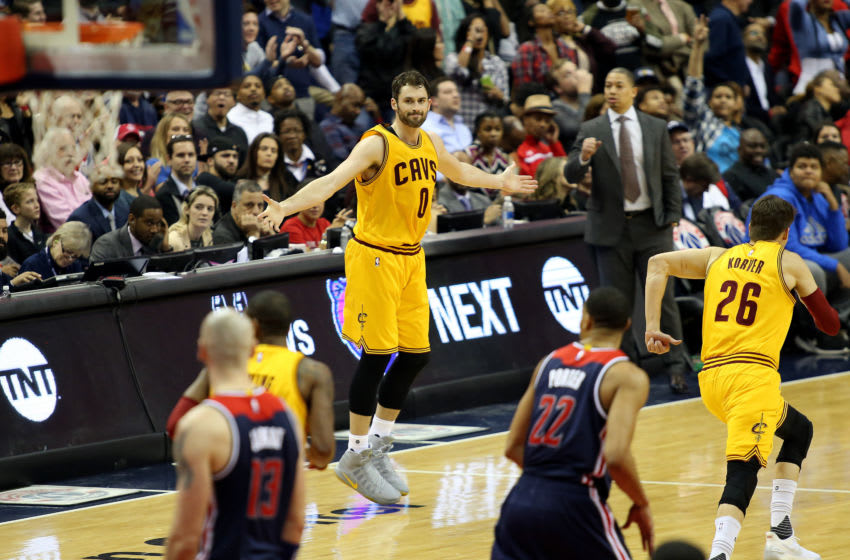Cleveland Cavaliers big Kevin Love celebrates after a made basket. (Photo by Daniel Kucin Jr./Icon Sportswire via Getty Images)