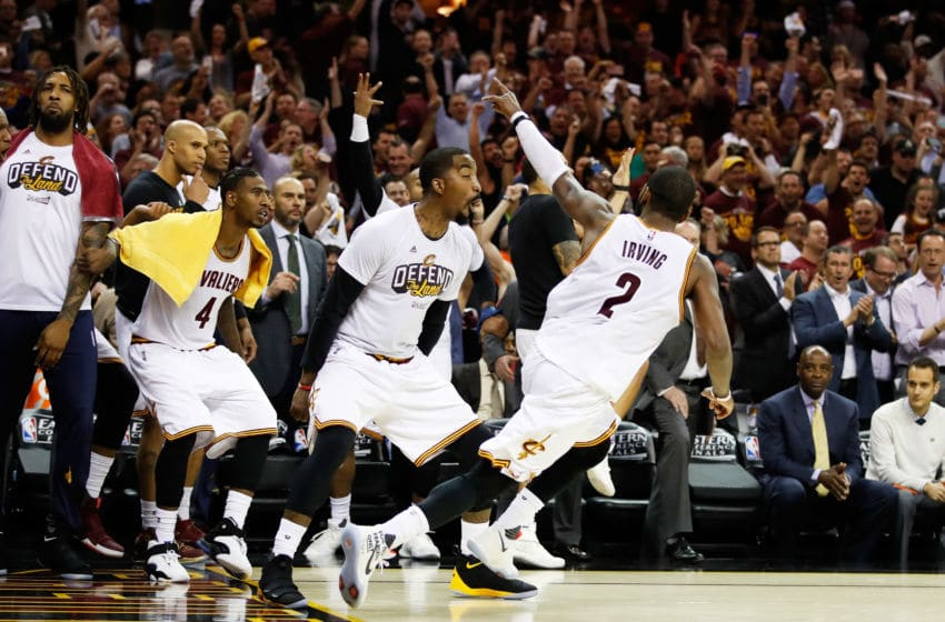 Cleveland Cavaliers guard Kyrie Irving celebrates after a basket in-game. (Photo by Gregory Shamus/Getty Images)