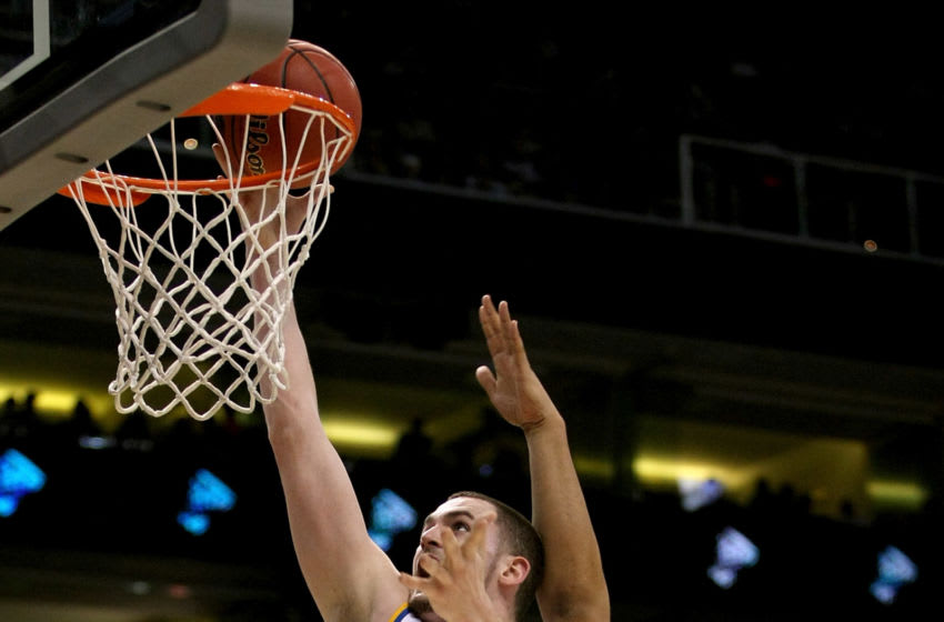 UCLA Bruins big Kevin Love #42 goes up for a shot. (Photo by Stephen Dunn/Getty Images)
