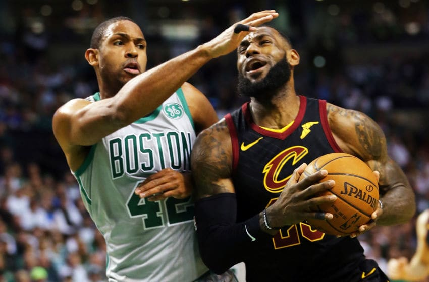BOSTON, MA - FEBRUARY 11: Lebron James #23 of the Cleveland Cavaliers drives to the basket during a game against the Boston Celtics at TD Garden on February 11, 2018 in Boston, Massachusetts. NOTE TO USER: User expressly acknowledges and agrees that, by downloading and or using this photograph, User is consenting to the terms and conditions of the Getty Images License Agreement. (Photo by Adam Glanzman/Getty Images)