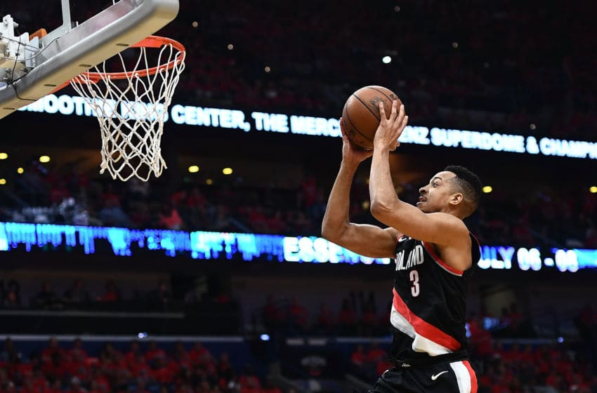 NEW ORLEANS, LA - APRIL 21: CJ McCollum #3 of the Portland Trail Blazers takes a shot against the New Orleans Pelicans during the first half of Game Four of the first round of the Western Conference playoffs at the Smoothie King Center on April 21, 2018 in New Orleans, Louisiana. NOTE TO USER: User expressly acknowledges and agrees that, by downloading and or using this photograph, User is consenting to the terms and conditions of the Getty Images License Agreement. (Photo by Stacy Revere/Getty Images)