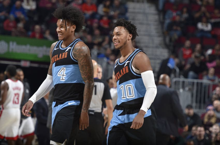 Cleveland Cavaliers wing Kevin Porter Jr. (left) and Cleveland guard Darius Garland. (Photo by David Liam Kyle/NBAE via Getty Images)